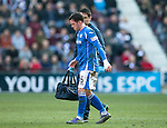 Hearts v St Johnstone…19.03.16  Tynecastle, Edinburgh<br />Danny Swanson limps off<br />Picture by Graeme Hart.<br />Copyright Perthshire Picture Agency<br />Tel: 01738 623350  Mobile: 07990 594431