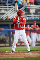 Batavia Muckdogs right fielder Jhonny Santos (32) at bat during a game against the Aberdeen Ironbirds on July 15, 2016 at Dwyer Stadium in Batavia, New York.  Aberdeen defeated Batavia 4-2. (Mike Janes/Four Seam Images)
