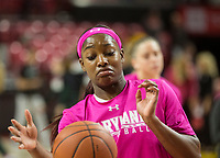 COLLEGE PARK, MD - FEBRUARY 03: Kaila Charles #5 of Maryland warms up during a game between Michigan State and Maryland at Xfinity Center on February 03, 2020 in College Park, Maryland.