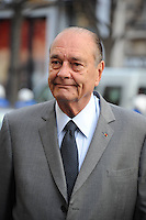 Former French President Jacques Chirac leaves flanked by China's Ambassador to France Kong Quan George V Hotel in Paris, France on November 5, 2010 after his meeting with Chinese President during a three-day visit in France of Chinese President.