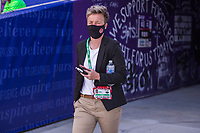 ORLANDO, FL - FEBRUARY 24: Bev Priestman the HC of the CANWNT walks out of the tunnel before a game between Brazil and Canada at Exploria Stadium on February 24, 2021 in Orlando, Florida.