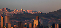 Denver skyline with Rocky Mountains in the background, Colorado at dawn
