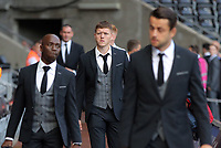 Alfie Mawson of Swansea City (C) arrives prior to the game during the Premier League match between Swansea City and Watford at The Liberty Stadium, Swansea, Wales, UK. Saturday 23 September 2017