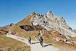 Schweiz, Graubuenden, Klosters: Mountainbiker und Wanderer vor dem Gotschnagrat, dem Hausberg Klosters | Switzerland, Graubuenden, Klosters: mountainbiker and hiker at Gotschna mountain