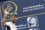 Mark Cavendish (GBR) Team Dimension Data at sign on before the start of Stage 4 The Municipality Stage of the Dubai Tour 2018 the Dubai Tour's 5th edition, running 172km from Skydive Dubai to Hatta Dam, Dubai, United Arab Emirates. 9th February 2018.<br /> Picture: LaPresse/Fabio Ferrari | Cyclefile<br /> <br /> <br /> All photos usage must carry mandatory copyright credit (© Cyclefile | LaPresse/Fabio Ferrari)