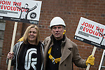 © Joel Goodman - 07973 332324 .  12/01/2015 . Salford , UK . Bez ( Mark Berry ) (left) (pictured with fellow candidate Jackie Anderson for the Worsley and Eccles South constituency ) launches his parliamentary campaign for the constituency of Salford and Eccles at a poster site on Chapel Street , Salford . Bez , the freaky dancer from Madchester band The Happy Mondays , is standing for The Reality Party . Seat incumbent , Labour's Hazel Blears , is standing down at the 2015 election . Photo credit : Joel Goodman