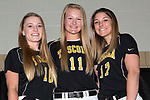 April 27, 2017- Tuscola, IL- The 2017 Warrior Varsity Softball Seniors. From left are Miah Holmes, Morgan Day, and Abbey Walsh. [Photo: Douglas Cottle]