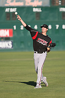Cal Quantrill (48) of the Lake Elsinore Storm throws in the outfield before pitching against the Lancaster JetHawks at The Hanger on June 12, 2017 in Lancaster, California. Lancaster defeated Lake Elsinore, 13-6. (Larry Goren/Four Seam Images)