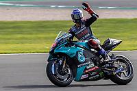 28th August 2021; Silverstone Circuit, Silverstone, Northamptonshire, England; MotoGP British Grand Prix, Qualifying Day; Petronas Yamaha SRT rider Jake Dixon on his Yamaha YZR-M1 waves to the fans