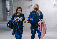 LE HAVRE, FRANCE - APRIL 13: Sophia Smith #2 and Lindsey Horan #9 of the USWNT arrive at the stadium before a game between France and USWNT at Stade Oceane on April 13, 2021 in Le Havre, France.