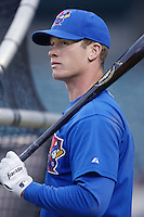 Joe Lawrence of the Toronto Blue Jays before a 2002 MLB season game against the Los Angeles Angels at Angel Stadium, in Anaheim, California. (Larry Goren/Four Seam Images)