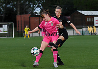 defender Chrystal Lermusiaux of Sporting Charleroi pictured in a fight for the ball with Woluwe's Selina Gijsbrechts (11) during a female soccer game between Sporting Charleroi and FC Femina White Star Woluwe on the second matchday of the 2020 - 2021 season of Belgian Scooore Women s SuperLeague , friday 4 th of September 2020  in Marcinelle , Belgium . PHOTO SPORTPIX.BE | SPP | DAVID CATRY
