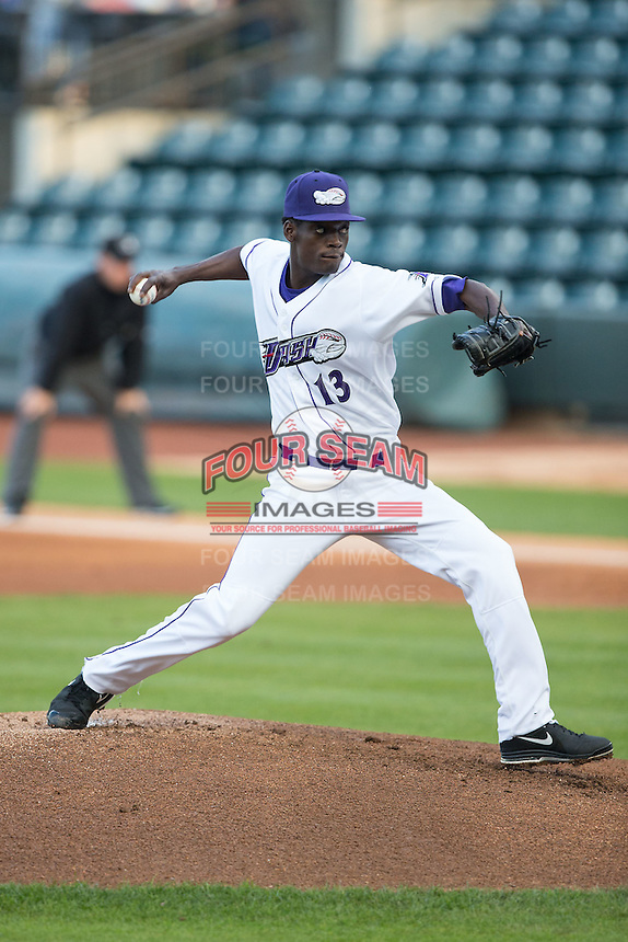 Winston-Salem Dash starting pitcher Robinson Leyer (13) in action against the Potomac Nationals at BB&T Ballpark on April 30, 2015 in Winston-Salem, North Carolina.  The Nationals defeated the Dash 5-4..  (Brian Westerholt/Four Seam Images)