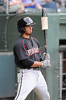 Center fielder Jacob May (20) of the Kannapolis Intimidators in a game against the Greenville Drive on Monday, August 5, 2013, at Fluor Field at the West End in Greenville, South Carolina. May was a third-round pick by the Chicago White Sox in the 2013 First-Year Player Draft. Kannapolis won, 3-0. (Tom Priddy/Four Seam Images)