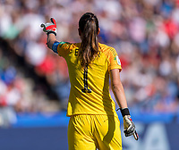 PARIS,  - JUNE 16: Christiane Endler #1 yells during a game between Chile and USWNT at Parc des Princes on June 16, 2019 in Paris, France.