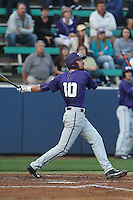 Dane Steinhagen (10) of the TCU Horned Frogs bats during a game against the Loyola Marymount Lions at Page Stadium on March 16, 2015 in Los Angeles, California. TCU defeated Loyola, 6-2. (Larry Goren/Four Seam Images)
