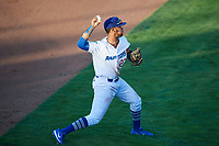 Cristian Santana (27) of the Ogden Raptors on defense against the Orem Owlz in Pioneer League action at Lindquist Field on June 21, 2017 in Ogden, Utah. The Owlz defeated the Raptors 16-5. This was Opening Night at home for the Raptors.  (Stephen Smith/Four Seam Images)