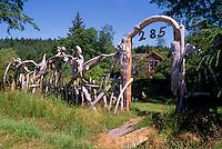 Near Sointula, Malcom Island, BC, British Columbia, Canada - Driftwood Fence around House