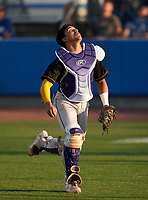 Montverde Academy Eagles catcher Salvador Alvarez (16) tracks a foul ball popup during a game against the IMG Academy Ascenders on April 8, 2021 at IMG Academy in Bradenton, Florida.  (Mike Janes/Four Seam Images)