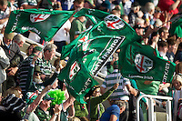 London Irish fans celebrate their win (29-22) during the Aviva Premiership match between London Irish and Bath Rugby at the Madejski Stadium on Saturday 22nd September 2012 (Photo by Rob Munro)