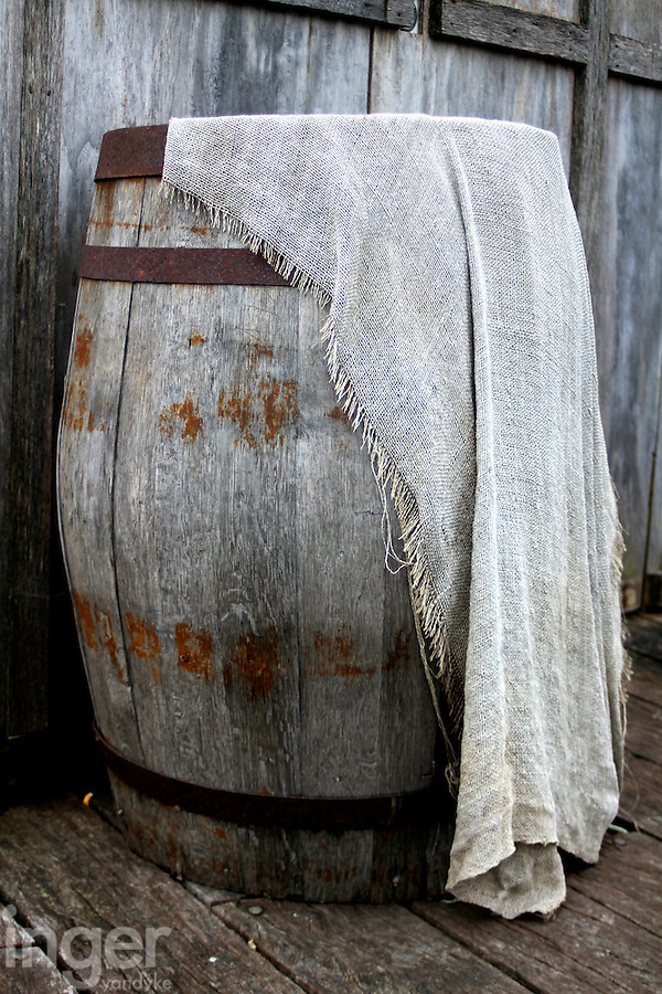 Wooden Barrel and Burlap at the Shipreck Museum, Warrnambool
