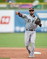 Carlos Asuaje (2) of the El Paso Chihuahuas during the game against the Salt Lake Bees in Pacific Coast League action at Smith's Ballpark on April 30, 2017 in Salt Lake City, Utah. El Paso defeated Salt Lake 12-3. This was Game 2 of a double-header originally scheduled on April 28, 2017. (Stephen Smith/Four Seam Images)