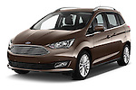2015 Ford Grand C-Max Titanium 5 Door Mini Mpv Angular Front stock photos of front three quarter view