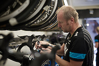 team SKY mechanic Igor Turk checking the spare bikes before they're mounted on the teamcars for the last (late) stage<br /> <br /> stage 21: Alcala de Henares - Madrid (98km)<br /> 2015 Vuelta à Espana
