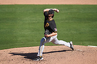 Pittsburgh Pirates pitcher Clay Holmes (52) during a Major League Spring Training game against the Baltimore Orioles on February 28, 2021 at Ed Smith Stadium in Sarasota, Florida.  (Mike Janes/Four Seam Images)