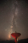 Owens Valley Radio Observatory located near Big Pine, California in Owens Valley points to the October Milky Way sky.