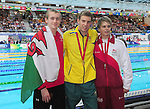 The medalists for the men's para-sport 200m freestyle S14 final, from left, bronze medalist Wales' Jack Thomas, gold medalist Australia's Daniel Fox and silver medalist England's Hamer Thomas<br /> <br /> Photographer Chris Vaughan/Sportingwales<br /> <br /> 20th Commonwealth Games - Day 3 - Saturday 26th July 2014 - Swimming - Tollcross International Swimming Centre - Glasgow - UK