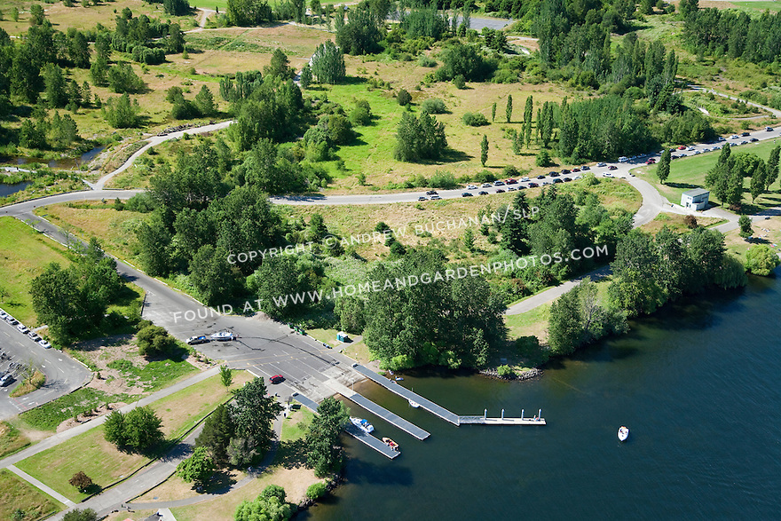 aerial photo of the boat ramp at Magnuson Park, on the site of the former Sand Point Naval Air Station; Seattle, WA; July, 2011