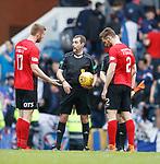 05.05.2018 Rangers v Kilmarnock: Killie players round on referee Alan Muir at full time