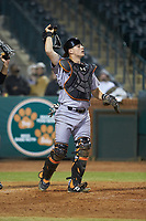 Augusta GreenJackets catcher Rob Calabrese (15) on defense against the Greensboro Grasshoppers at First National Bank Field on April 10, 2018 in Greensboro, North Carolina.  The GreenJackets defeated the Grasshoppers 5-0.  (Brian Westerholt/Four Seam Images)