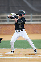 Drew Freedman (5) of the Wake Forest Demon Deacons at bat against the Clemson Tigers at David F. Couch Ballpark on March 12, 2016 in Winston-Salem, North Carolina.  The Tigers defeated the Demon Deacons 6-5.  (Brian Westerholt/Four Seam Images)