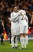 Pictured: (L-R) Pablo Hernanadez, Angel Rangel. Sunday 24 February 2013<br /> Re: Capital One Cup football final, Swansea v Bradford at the Wembley Stadium in London.