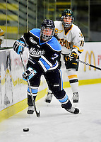 23 November 2011: University of Maine Black Bears' defenseman Jessica Hall, a Freshman from Ingersoll, Ontario, in action against the University of Vermont Catamounts at Gutterson Fieldhouse in Burlington, Vermont. The Lady Bears defeated the Lady Cats 5-2 in Hockey East play. Mandatory Credit: Ed Wolfstein Photo