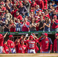 6 April 2014: Washington Nationals shortstop Ian Desmond returns to the dugout after hitting a solo home run in the 7th inning against the Atlanta Braves at Nationals Park in Washington, DC. The Nationals defeated the Braves 2-1 to salvage the last game of their 3-game series. Mandatory Credit: Ed Wolfstein Photo *** RAW (NEF) Image File Available ***