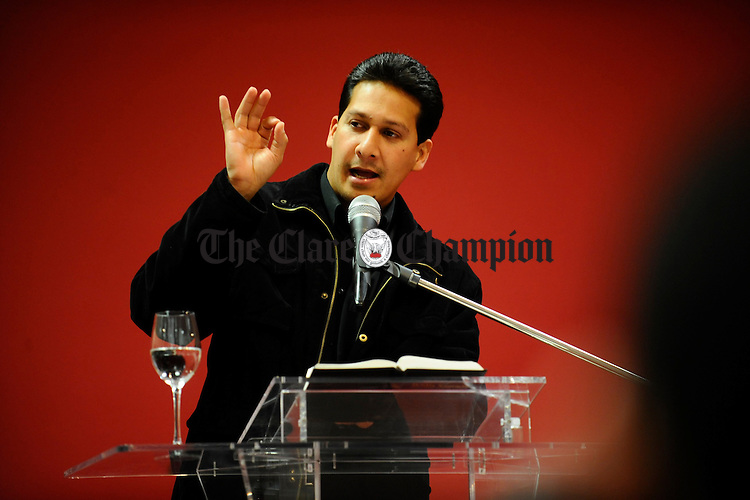 Senior Pastor Dilson Resplandes Santos preaching at the Assembly of God service in Gort.  Photograph by Johnn Kelly.