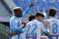 Victor Osimhen of SSC Napoli celebrates with team mates after scoring the goal 1-0 during the Serie A football match between SSC Napoli and Cagliari Calcio at Diego Armando Maradona stadium in Napoli (Italy), May 02nd, 2021. <br /> Photo Cesare Purini / Insidefoto