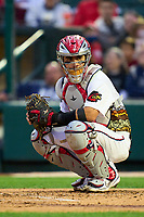 Rochester Red Wings catcher Tres Barrera (13) during a game against the Worcester Red Sox on September 2, 2021 at Frontier Field in Rochester, New York.  (Mike Janes/Four Seam Images)