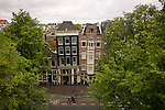 The famous leaning houses in Amsterdam. These ones are found on the Rozengracht.