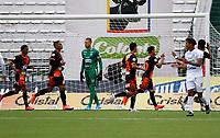MANIZALES- COLOMBIA,  06-02-2021 .Yeison Guzmán del Envigado celebra después de anotar el gol de su equipo durante partido por la fecha 5 entre Once Caldas y Envigado como parte de la Liga BetPlay DIMAYOR 2021 jugado en el estadio  Palogrande de la ciudad de Manizales. /Yeison Guzman of Envigado celebrates after scoring the  goal of his team during match for the date 5 between  Oce Caldas and Envigado BetPlay DIMAYOR League I 2021 played at Palogrande stadium in Manizales city. Photo: VizzorImage /John Jairo Bonilla / Contribuidor