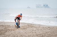 David van der Poel (NED/Alpecin-Fenix) trying to keep balance on the beach<br /> <br /> UCI 2021 Cyclocross World Championships - Ostend, Belgium<br /> <br /> Elite Men's Race<br /> <br /> ©kramon