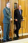 King Juan Carlos of Spain receives Guatemalan President Otto Perez Molina at Zarzuela Palace, Madrid. February 13, 2013. (ALTERPHOTOS/Caro Marin)