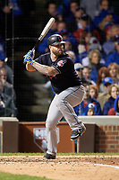 Cleveland Indians Mike Napoli (26) bats in the seventh inning during Game 5 of the Major League Baseball World Series against the Chicago Cubs on October 30, 2016 at Wrigley Field in Chicago, Illinois.  (Mike Janes/Four Seam Images)