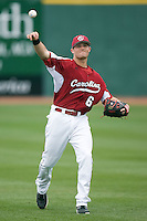 South Carolina Gamecocks shortstop Reese Havens (6) warms-up at the Sarge Frye Field in Columbia, SC, Sunday, February 24, 2008.