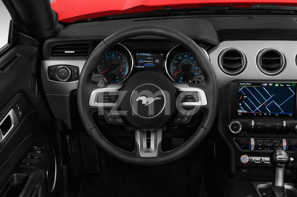 Car pictures of steering wheel view of a 2016 Ford Mustang GT 2 Door Convertible Steering Wheel