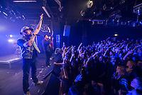 Die Hip-Hop-Gruppe Antilopen Gang aus Duesseldorf, Koeln und Berlin spielte am Samstag den 14. Maerz 2015 im ausverkauften Berliner Club SO36.<br /> Die Band besteht aus den Rappern Koljah Kolerikah (hinten), Panik Panzer (mitte) und Danger Dan (vorne) und steht beim Toten Hosen-Label JKP unter Vertrag.<br /> 14.3.2015, Berlin<br /> Copyright: Christian-Ditsch.de<br /> [Inhaltsveraendernde Manipulation des Fotos nur nach ausdruecklicher Genehmigung des Fotografen. Vereinbarungen ueber Abtretung von Persoenlichkeitsrechten/Model Release der abgebildeten Person/Personen liegen nicht vor. NO MODEL RELEASE! Nur fuer Redaktionelle Zwecke. Don't publish without copyright Christian-Ditsch.de, Veroeffentlichung nur mit Fotografennennung, sowie gegen Honorar, MwSt. und Beleg. Konto: I N G - D i B a, IBAN DE58500105175400192269, BIC INGDDEFFXXX, Kontakt: post@christian-ditsch.de<br /> Bei der Bearbeitung der Dateiinformationen darf die Urheberkennzeichnung in den EXIF- und  IPTC-Daten nicht entfernt werden, diese sind in digitalen Medien nach §95c UrhG rechtlich geschuetzt. Der Urhebervermerk wird gemaess §13 UrhG verlangt.]