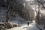 Winter walking walking in the snow from Palnackie to Glen Isle under the trees of Tornat Plantation Dumfries and Galloway Scotland UK